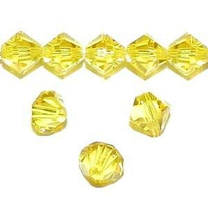 Steven_store SCB5115sp Citrine Yellow 6mm Faceted Bicone Swarovski Crystal Beads 18pc Making Beading Beaded Necklaces Yoga Bracelets