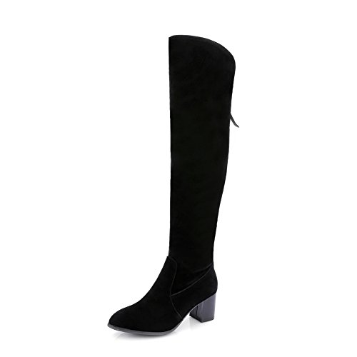 Frosted Square Girls AdeeSu Boots Retro Heels Black Back Zipper xBzwZYFq6