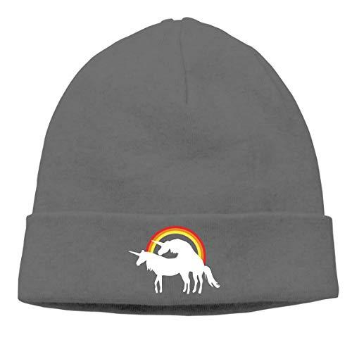 Unicorn Fuck Love Rainbow Beanie Cap Winter Warm Knit Skull Hat for Men Women Deep ()