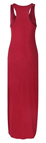 Neck Dress Loose Sleeveless Women's Wine Long Striped Roselux Scoop Red nOxPtBxg0