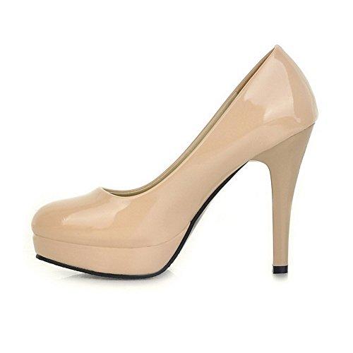 Amoonyfashion Donna Solido Pu Tacco Alto Punta Chiusa Scarpe Da Ginnastica-scarpe Albicocca