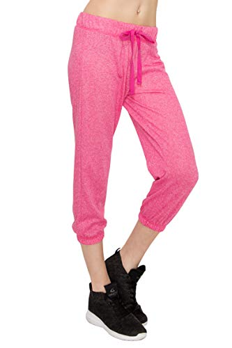 - EttelLut Pajama Yoga Gym Terry Cute Capri Comfy Knit Joggers Women H Fuchsia S