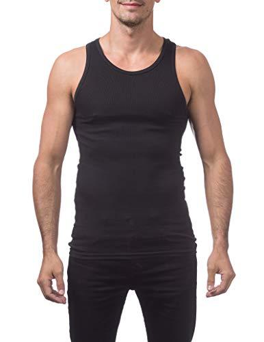 Pro Club Men's Premium Ringspun Cotton Ribbed A-Shirt (2-Pack), Black, Small