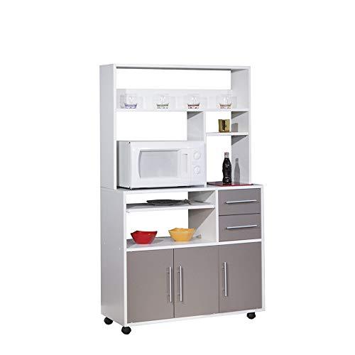 Générique Apta para microondas Mueble para Alto Blanco Gris ...