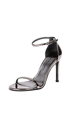 Stuart Weitzman Women's Nudistso Heeled Sandal, Pewter Glass, 9.5 Medium US by Stuart Weitzman
