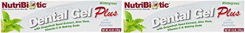 Nutribiotic Wintergreen Dental Gel (Pack of 2) With Grapefruit Seed Extract, Aloe Vera, Vitamin C, Baking Soda, Boron, Calcium and Vitamin E, Sulfate Free, Vegan, 4.5 oz.