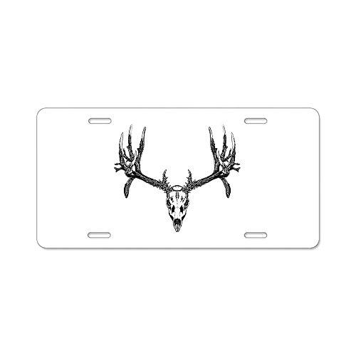 CafePress - Drop Tine Buck Skull - Aluminum License Plate, Front License Plate, Vanity Tag