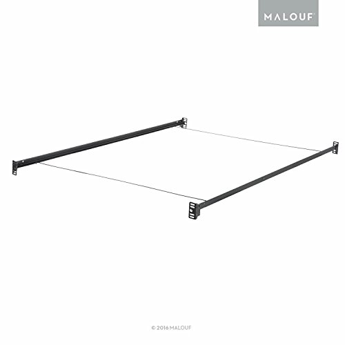 MALOUF Structures Bolt-on Metal Bed Rail System with Wire Support, Queen, Black (Metal Queen Rails Bed)