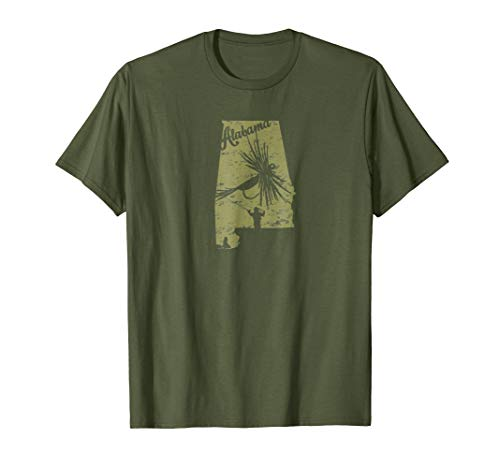 Vintage Fish Alabama State Map AL Fly Fishing T-shirt ()