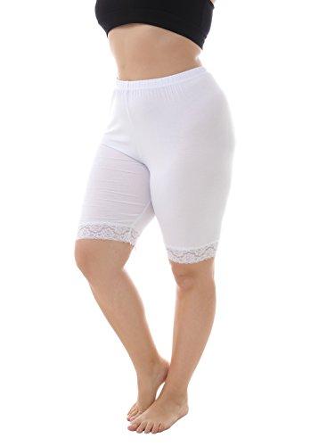 ZERDOCEAN Women's Plus Size Short Leggings with Lace Trim White 2X Shorts