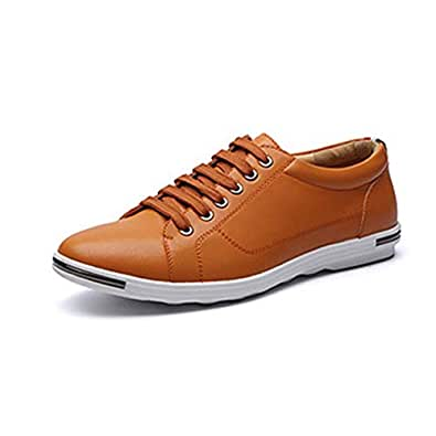 QXA Athletic Shoes shoe for Men Leisure Fashion Sneaker Casual Sport Lace Up Microfiber Leather Round Toe Flat Heel Breathable Wear Resistant Classic (Color : Yellow, Size : 48 EU)
