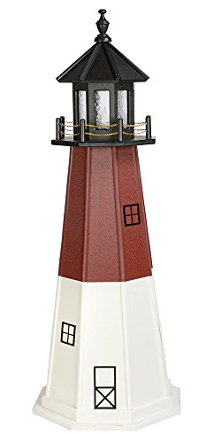 - Country Living Primitives Amish Handcrafted Poly Garden Lighthouse - Barnegat - Assorted Sizes - Black, Red & White (5 Foot)
