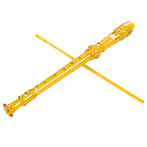 - Lot-Yes 8-Hole Soprano Descant Recorder with Cleaning Rod + Case Bag Music Instrument (Crystal Yellow)