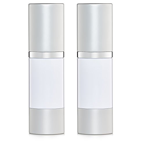 Airless Pump Bottles Set of 2 | Air Pump Bottles are Refillable With White Opaque Color 1 oz. Each Bottle