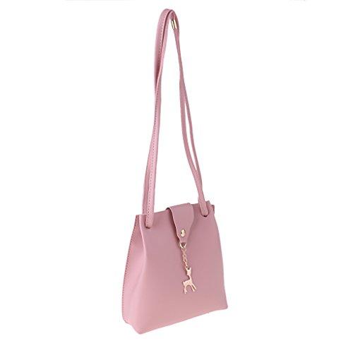 Women Deer x Bag PU 17 20 Pendant Bucket Shoulder P Handbag Prettyia Crossbody Pink black x 5 Fashion Bag cm Leather Boho EXqx0wT