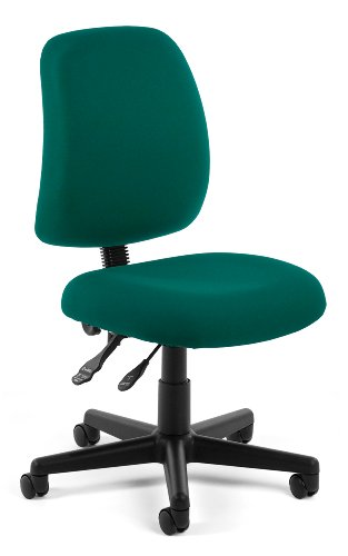 OFM Posture Series Armless Mid Back Task Chair - Stain Resistant Fabric Swivel Chair, Teal (118-2)