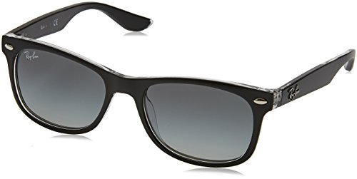 Ray-Ban Junior RJ9052S New Wayfarer Kids Sunglasses, Matte Black On Transparent/Grey Gradient, 48 ()