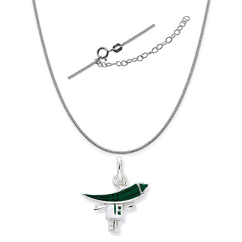 Sterling Silver Enameled Green Chili Pepper Person Charm on a Box Chain, 18