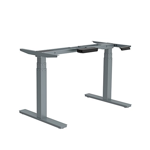 GT Innovation Gray Motorized Table Desk Base for Ergonomic Standing Desk Automatic Double Motor 3 Stage Heavy Duty Power Lifting Height Adjustment DIY Friendly Easy Installation