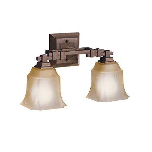 Aztec Bronze Sconce - Aztec Lighting Transitional 2-Light Tannery Bronze Bath/Vanity Light