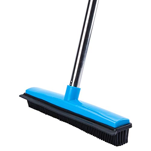 """MEIBEI Pet Hair Removal Broom with Squeegee -53"""", Long Handle Soft Bristle Rubber Broom, Ideal for remove fur from Carpets, Rugs, Hardwood and Linoleum"""