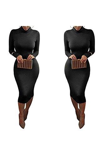 Dora Bridal Women´s Turtleneck Long Sleeve Slim Bodycon Tight Dress Black