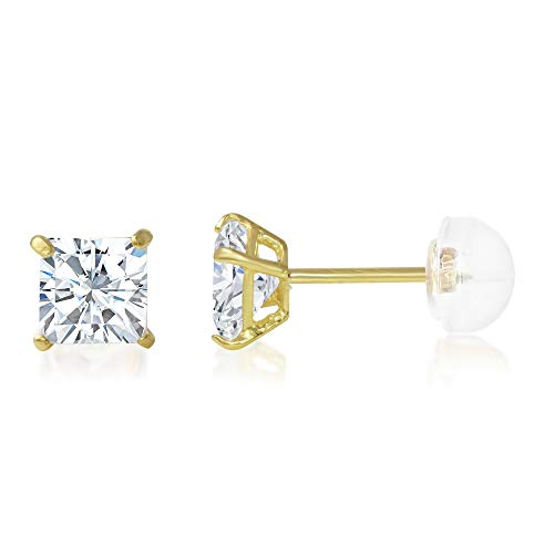 Square Cubic Zirconia Solitaire - Ioka - 14K Yellow Gold