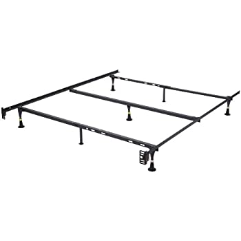this item heavy duty 7 leg adjustable metal queen full full xl twin twin xl bed frame with center support glides only