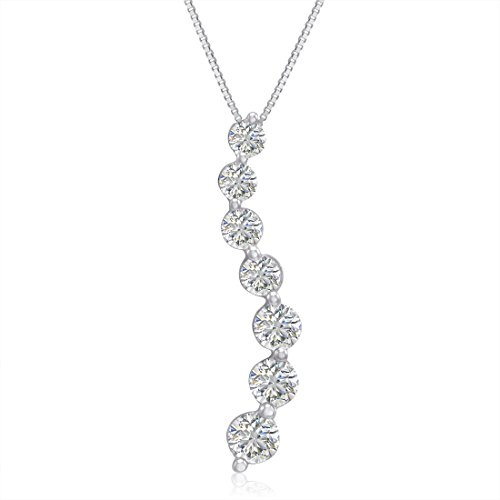 Diamond Prong Journey Pendant - AGS Certified 1ct TW Journey Diamond Pendant-Necklace in 14K White Gold