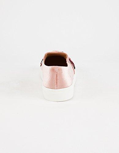Linge Sale Femmes Jiana Velours Brodé Slip-on Sneaker Rose