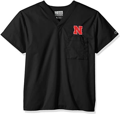 WonderWink Unisex-Adult's University of Nebraska V-Neck Top, Black, MD