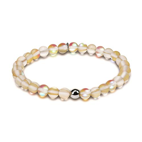 Townshine 6mm Round Moonstone Beaded Bracelet Stretch Mermaid Glass Bracelet for Women Girls,Couples Beaded Glass Bracelet - Pendant Bracelet Glass