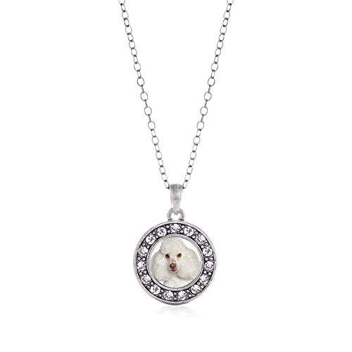 Inspired Silver - I Love My Poodle Charm Necklace for Women - Silver Circle Charm 18 Inch Necklace with Cubic Zirconia Jewelry