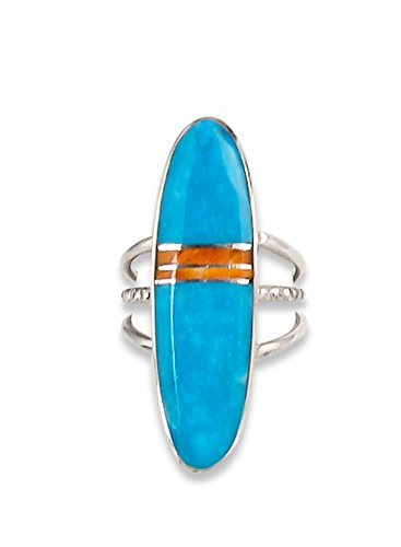 Navajo Silver Spiny Oyster Turquoise Inlay Ring Size 6.5