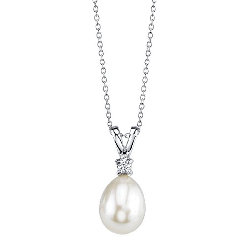 THE PEARL SOURCE 8-9mm Genuine White Freshwater Cultured Pearl & Cubic Zirconia Rosalie Pendant Necklace for Women ()