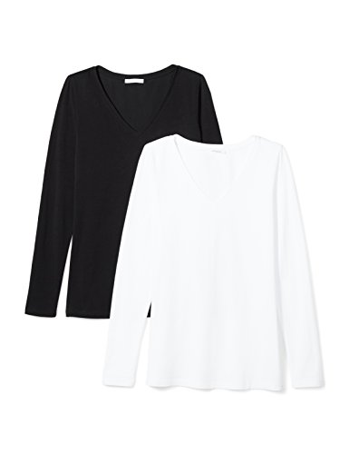 Daily Ritual Women's Stretch Supima Long-Sleeve V-Neck T-Shirt, 2-Pack, L, Black/White (V-neck Stretch Womens Tee)