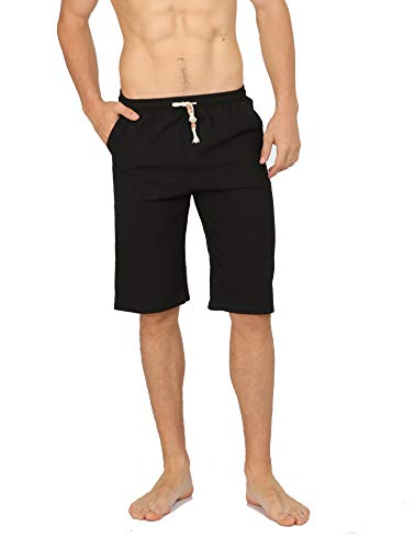 WULFUL Men's Casual Classic Fit Shorts Drawstring Summer Beach Linen Shorts Black