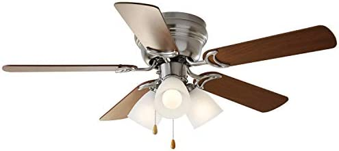 52 Ceiling Fan, 3 Light Hugger Satin Nickel