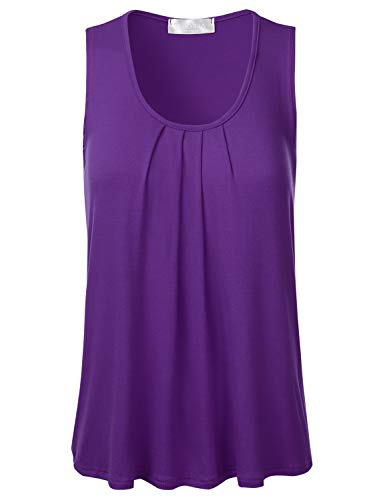 FLORIA Womens Round Neck Pleated Front Sleeveless Stretchy Blouse Tank Top Purple L