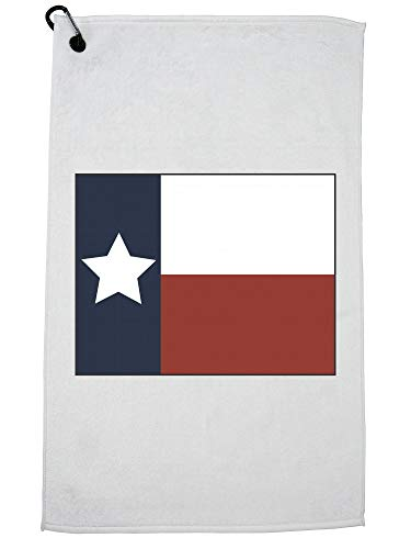 (Hollywood Thread Simple Colorful Texas State Flag and Colors Golf Towel with Carabiner)