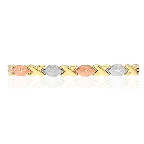 Tri Color Hugs - 10k Yellow White & Rose Gold Tri-Color Diamond Cut XO Hugs & Kisses Bracelet 7
