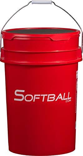 W001 Softball.com Empty Softball Bucket with Padded Lid Red
