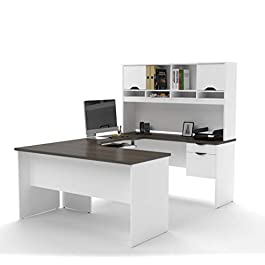 Bestar U-Shaped Desk with Dual Half Pedestal and H...