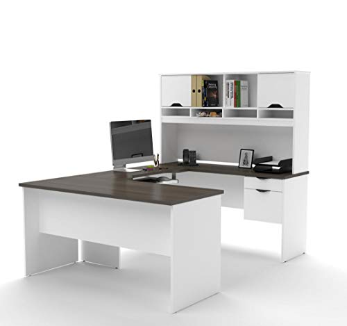 Bestar U-Shaped Desk with Dual Half Pedestal and Hutch - Innova