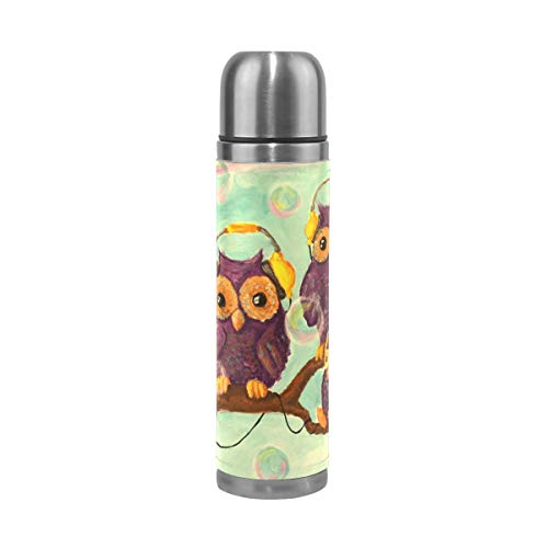 Coffee Thermos Hipster Owl Background Cycling Vacuum Insulated Womens Thermos Flask Stainless Steel Water Bottles + Drink Cup Top + Leather Cover Fits Backpack Lunchbox 17oz / 500ml
