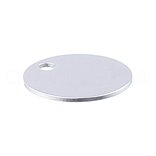 """50 Pack - CleverDelights 1/2"""" Round Aluminum Stamping Blanks - Shiny Anodized Finish - 22 Gauge (.025"""")"""