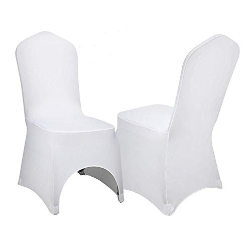 VEVOR 100 Pcs White Chair Covers Polyester Spandex Chair Cover Stretch Slipcovers for Wedding Party Dining Banquet Chair Decoration Covers (Arched Chair Cover, -