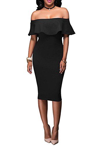 - Wonderoy Women's Ruffles Off Shoulder Fitted Club Party Cocktail Bodycon Midi Dress M Black