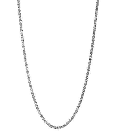Wheat Solid Platinum Chain - Pori Jewelers Genuine Platinum 950 Solid Diamond Cut Wheat/Spiga Chain Necklace -2.5mm Thick- Unisex (24)