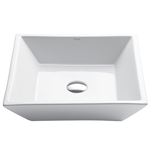 Kraus KCV-125 White Square Ceramic Bathroom Sink by Kraus